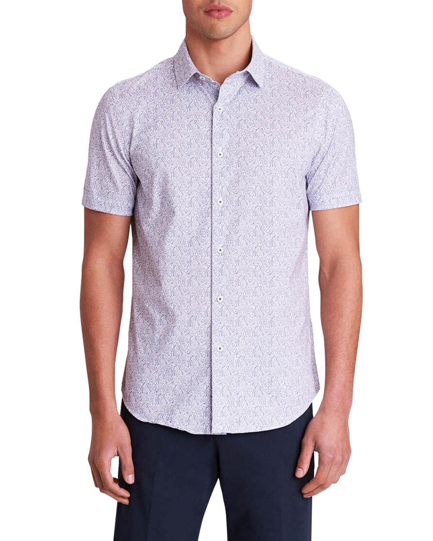 Men's Abstract Leaf-Print OoohCotton Tech Sport Shirt