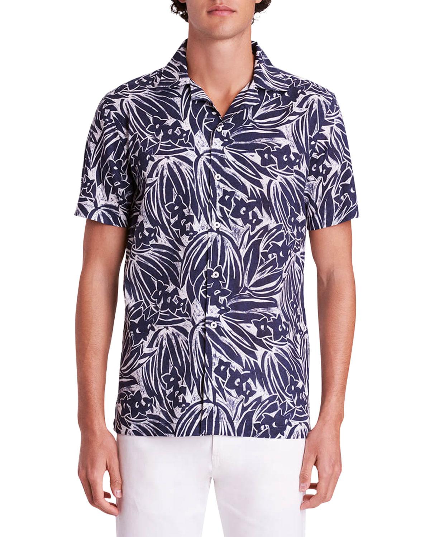 Men's Chalk Floral-Print Camp Shirt