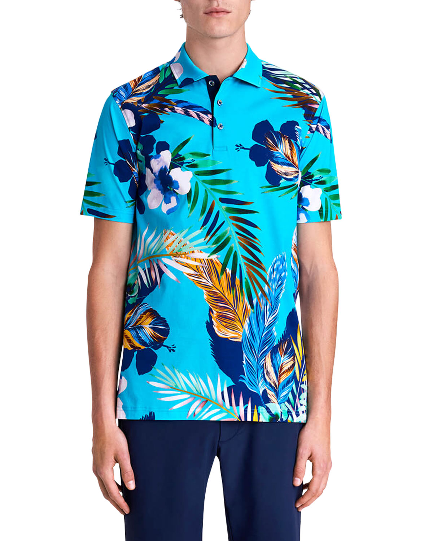 Men's Floral Digital-Print Polo Shirt