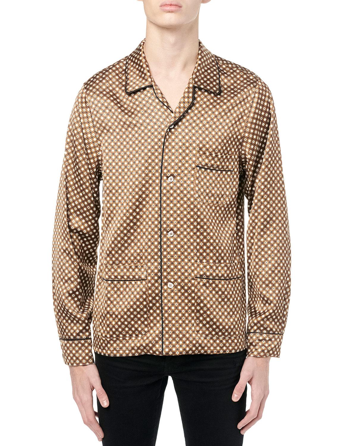 Men's Poker-Print Pajama Shirt