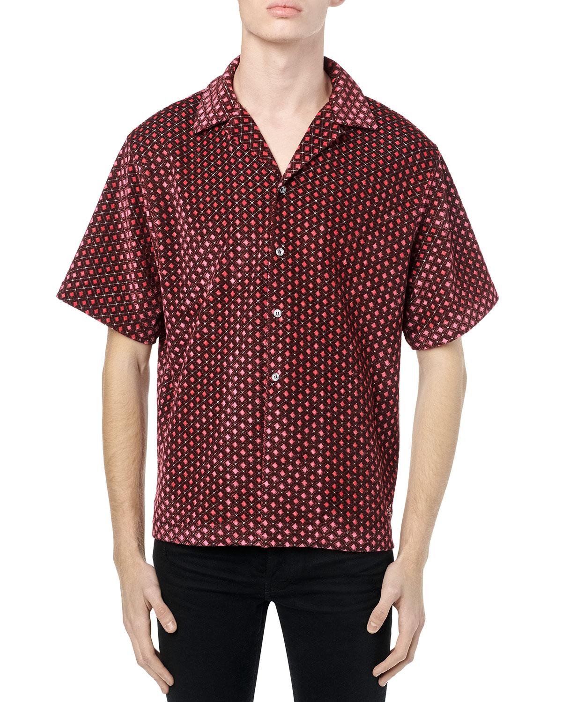 Men's Retro Velour Camp Shirt