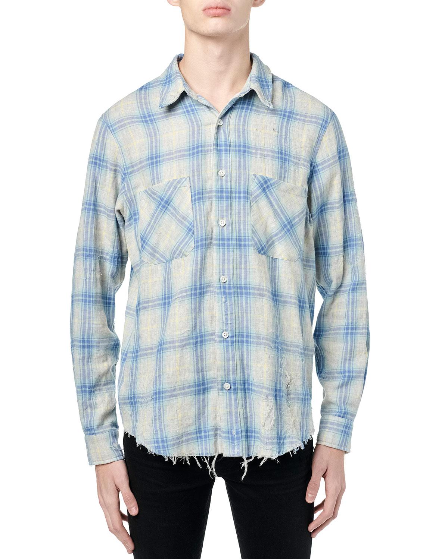 Men's Double-Face Distressed Plaid Sport Shirt