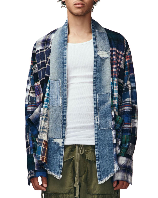 Men's Plaid Scrapwork Kimono Jacket