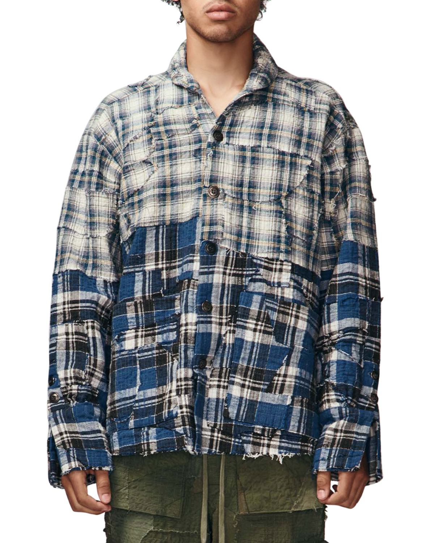 Men's Stitchwork Plaid Boxy Sport Shirt