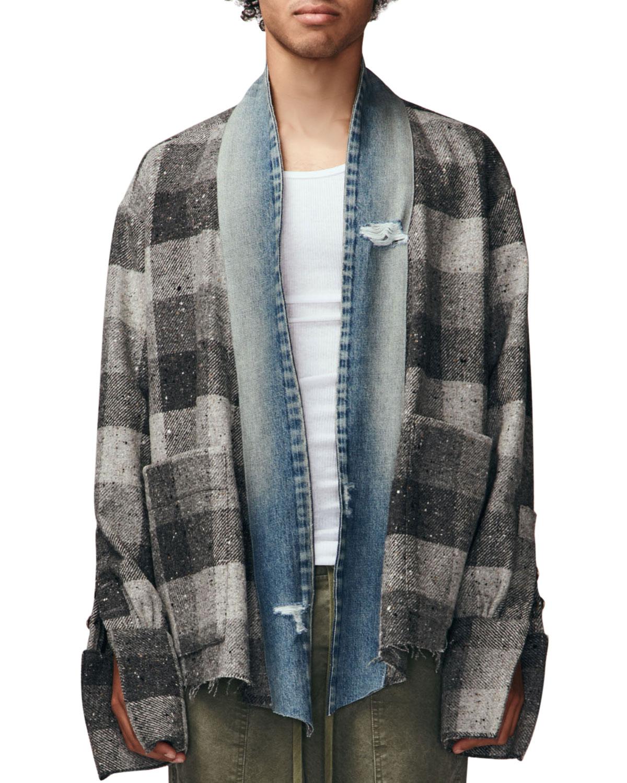Men's Buffalo Check Kimono Jacket