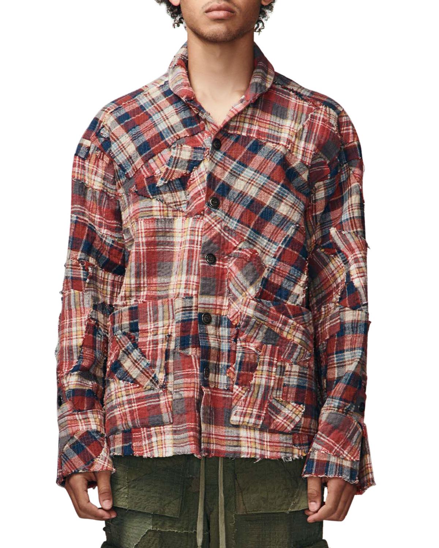 Men's Stitchwork Plaid Boxy Shirt