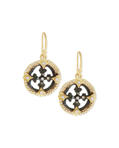 Sueño Open Cross Diamond Artifact Earrings