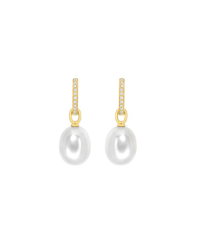 18K Yellow Gold Diamond & Pearl Drop Earrings