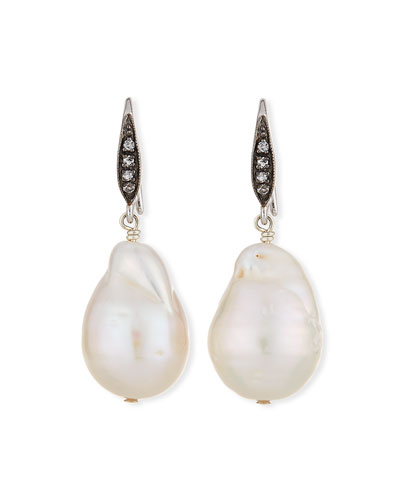 White Sapphire & Baroque Pearl Drop Earrings