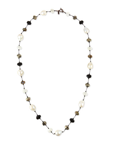 Baroque Pearl & Pyrite Station Necklace, 34