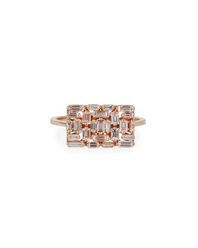 White Diamond Baguette Rectangle Ring in 18K Rose Gold, Size 6.5