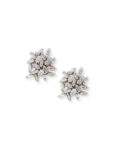 Quick Look Suzanne Kalan White Baguette Diamond Cer Earrings