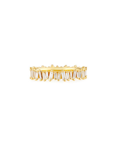 Fireworks Diamond Baguette Eternity Ring in 18k Yellow Gold, Size 6.5