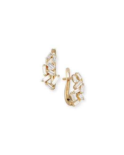 Fireworks Mini Huggie Earrings in 18k Yellow Gold