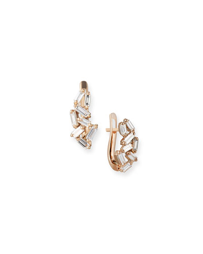 Fireworks Mini Huggie Earrings in 18k Rose Gold