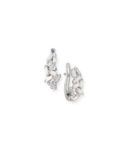 Fireworks Mini Huggie Earrings in 18k White Gold
