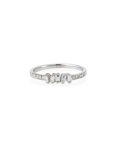 Tilted Baguette Diamond Ring in 18K White Gold, Size 6.5