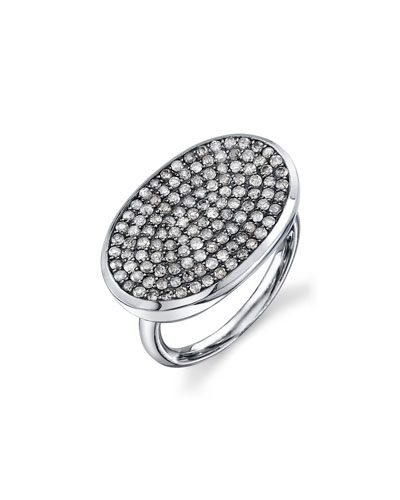 Pave Diamond Oval Ring, Size 7