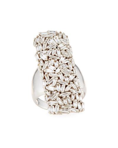 Fireworks Diamond Long Cluster Ring in 18k White Gold, Size 6.5