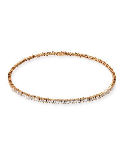 18K Rose Gold Diamond Baguette Choker Necklace, 3.0 tdcw