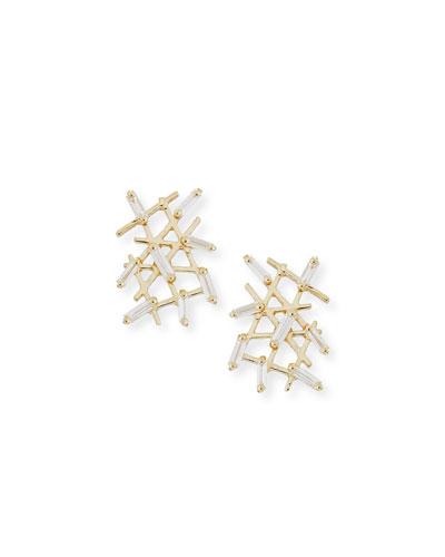 Diamond Baguette Crosshatch Earrings in 18K Yellow Gold