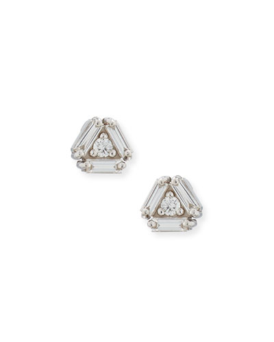 Fireworks 4-Diamond Stud Earrings in 18k White Gold