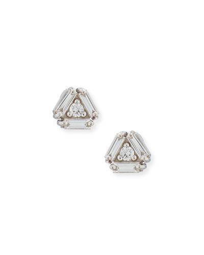Fireworks 4-Diamond Stud Earrings in 18k White Gold