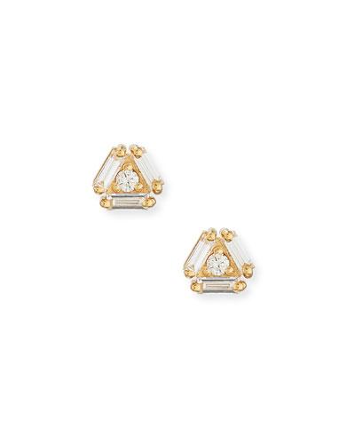 Fireworks 4-Diamond Stud Earrings in 18k Yellow Gold