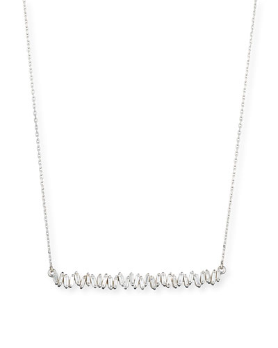 18K White Gold Diamond Baguette Necklace, 0.56 tdcw