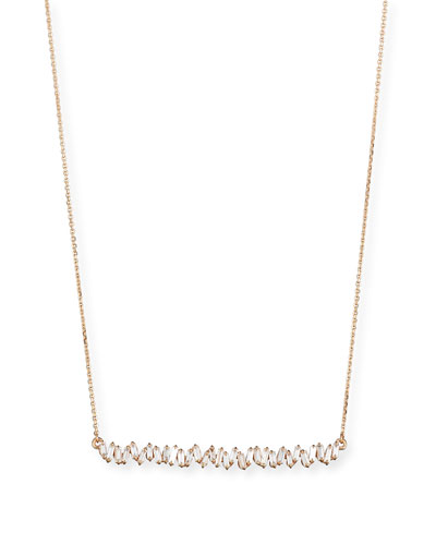 18K Rose Gold Diamond Baguette Necklace, 0.56 tdcw
