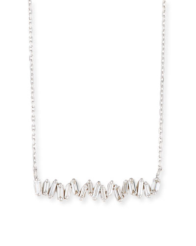 18K White Gold Diamond Baguette Necklace, 0.30 tdcw
