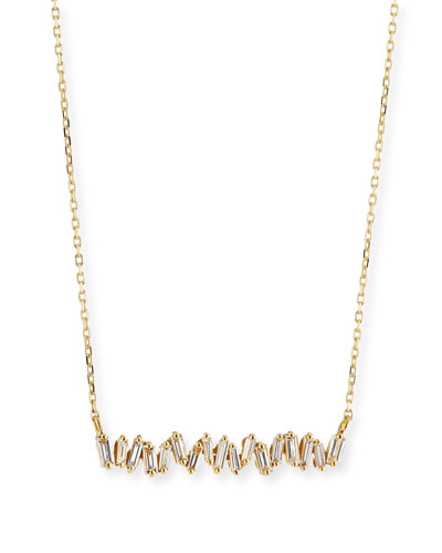 18K Yellow Gold Diamond Baguette Necklace, 0.30 tdcw