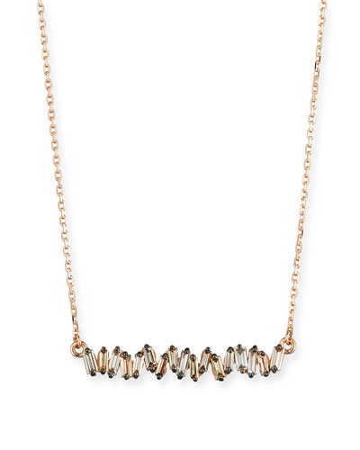 18K Rose Gold Diamond Baguette Necklace, 0.30 tdcw