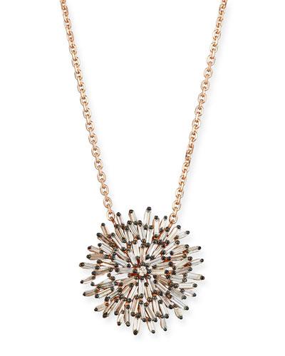 18K Rose Gold Diamond Baguette Sunburst Necklace