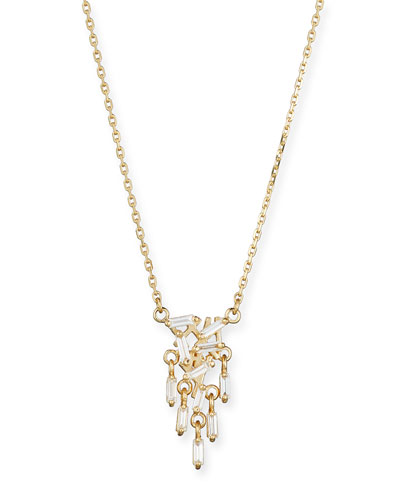 18K Yellow Gold Diamond Baguette Drop Necklace