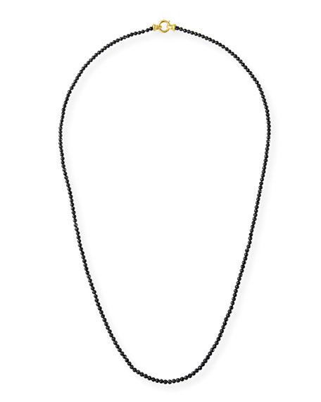 Elizabeth Locke Black Spinel Bead Necklace with Francesca Clasp