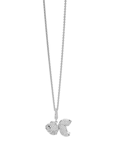 Small Qin Qin 18K White Gold Fish Pendant Necklace with Diamonds