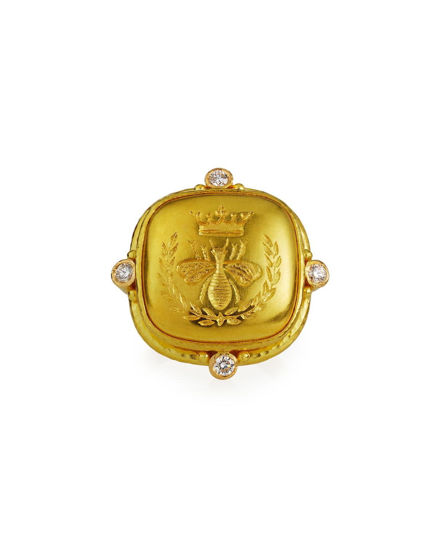 Queen Bee 19k Cushion Ring w/ Diamonds