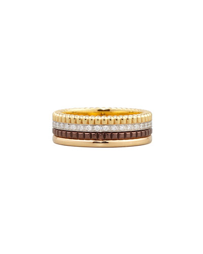 Classic Quatre 18k Four-Color Gold Small Diamond Band Ring, Size 4.5