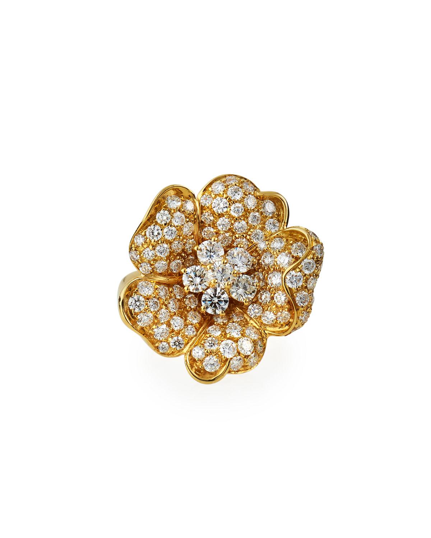 18k Yellow Gold Pave Diamond Flower Ring