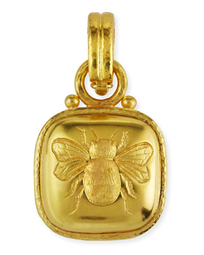 19k Cushion Gold Bee Pendant