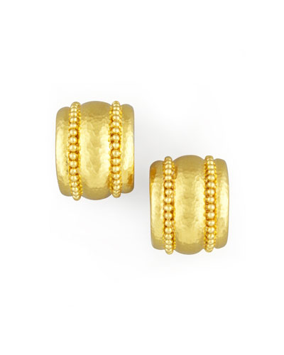 Amalfi Granulated 19k  Gold Huggie Earrings