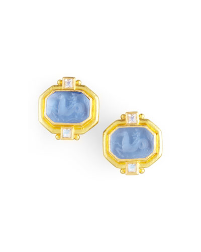 Cherub & Sea Horse Intaglio Clip/Post Earrings, Cerulean