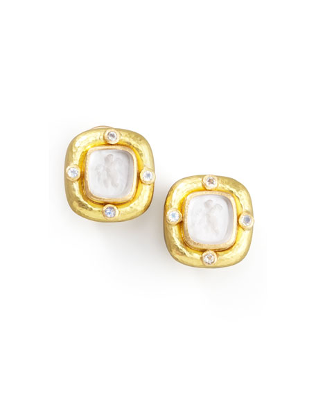 Elizabeth Locke Putto Intaglio Clip/Post Earrings, Crystal