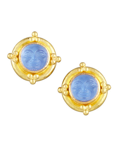 Man-in-the-Moon Intaglio Stud Earrings, Cerulean