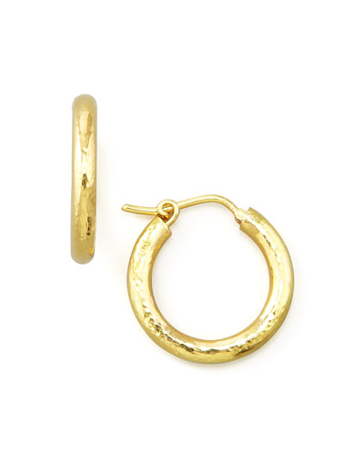 Small Hammered Gold Hoop Earrings, 3/4