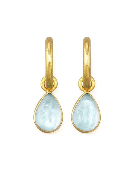 Elizabeth Locke Light Aqua Intaglio Teardrop Earring Pendants