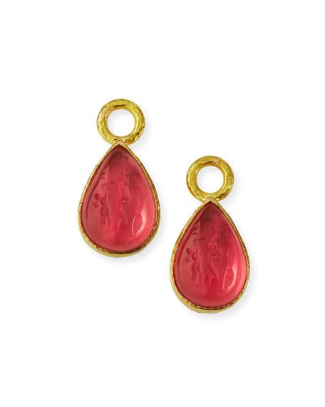 Elizabeth Locke Pink Intaglio Teardrop Earring Pendants