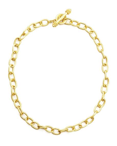"""Elizabeth Locke Volterra 19k Gold Link Necklace, 17""""L"""