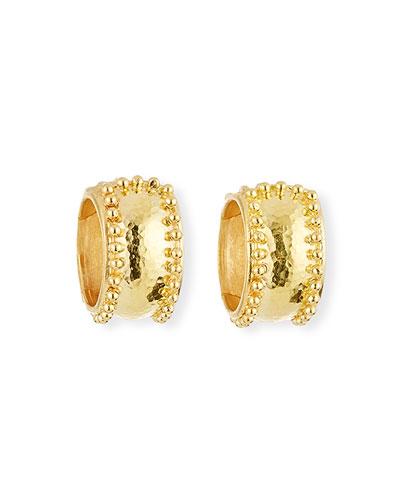 19k Gold Granulated Hoop Earrings